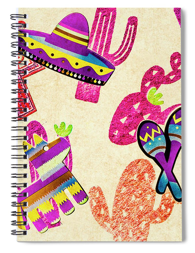 Fiesta Spiral Notebook featuring the photograph Mexican Mural by Jorgo Photography - Wall Art Gallery