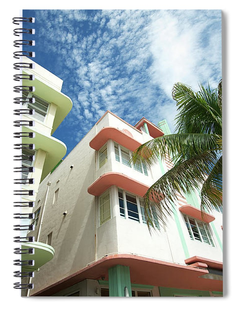 Architectural Feature Spiral Notebook featuring the photograph Miami Art Deco Drive Architecture Blue by Peskymonkey