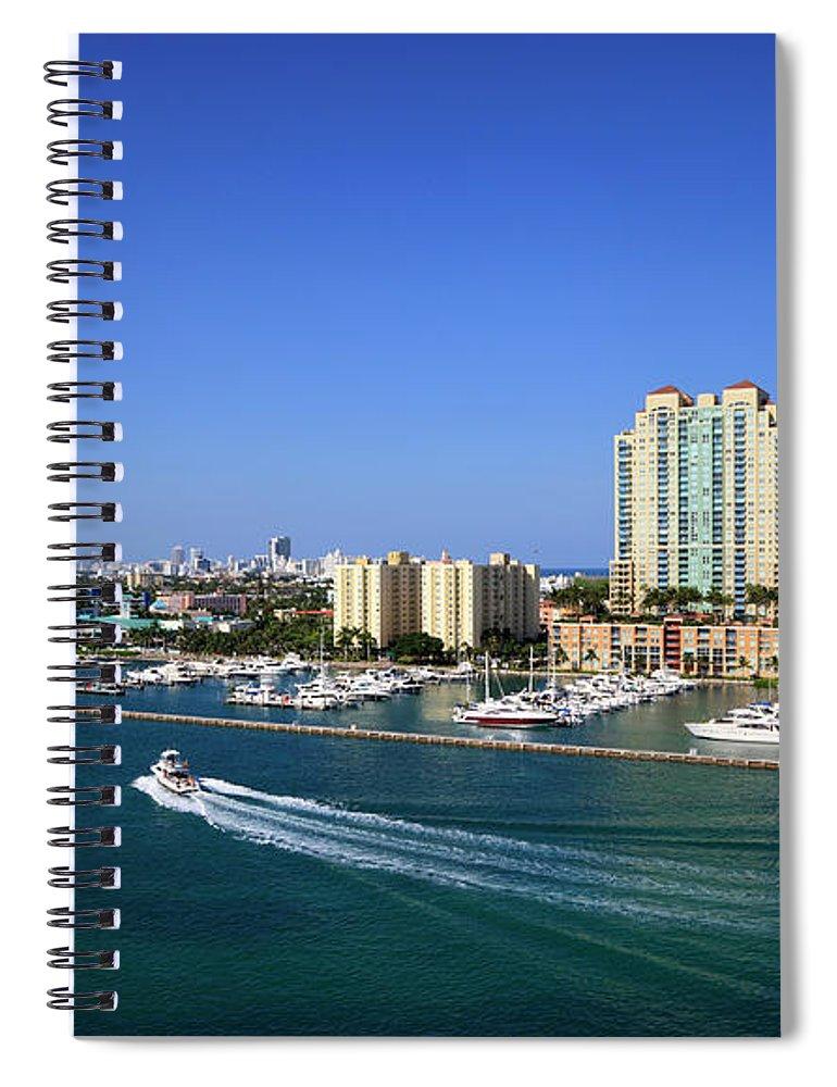 Built Structure Spiral Notebook featuring the photograph Miami Beach Marina by Jorgegonzalez