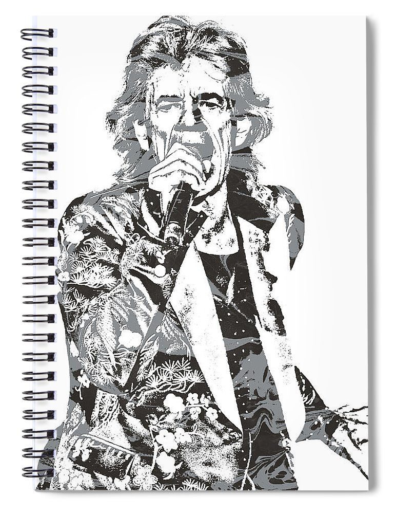 Mick Jagger Spiral Notebook featuring the mixed media Mick Jagger Rolling Stones Rock And Roll Pixel Art 1 by Joe Hamilton