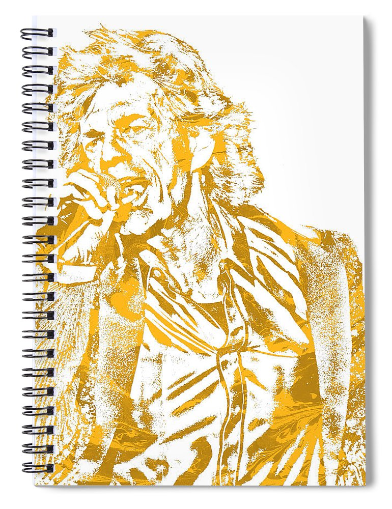 Mick Jagger Spiral Notebook featuring the mixed media Mick Jagger Rolling Stones Rock And Roll Pixel Art 2 by Joe Hamilton