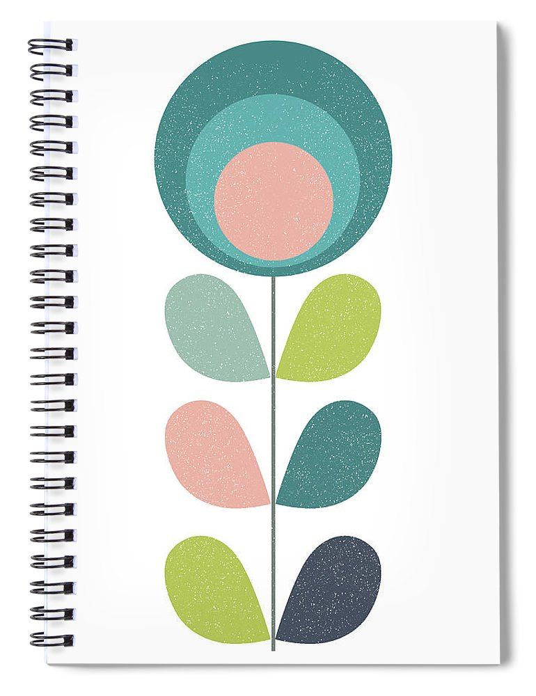 Mid Century Spiral Notebook featuring the mixed media Mid Century Modern Teal Flower I by Naxart Studio