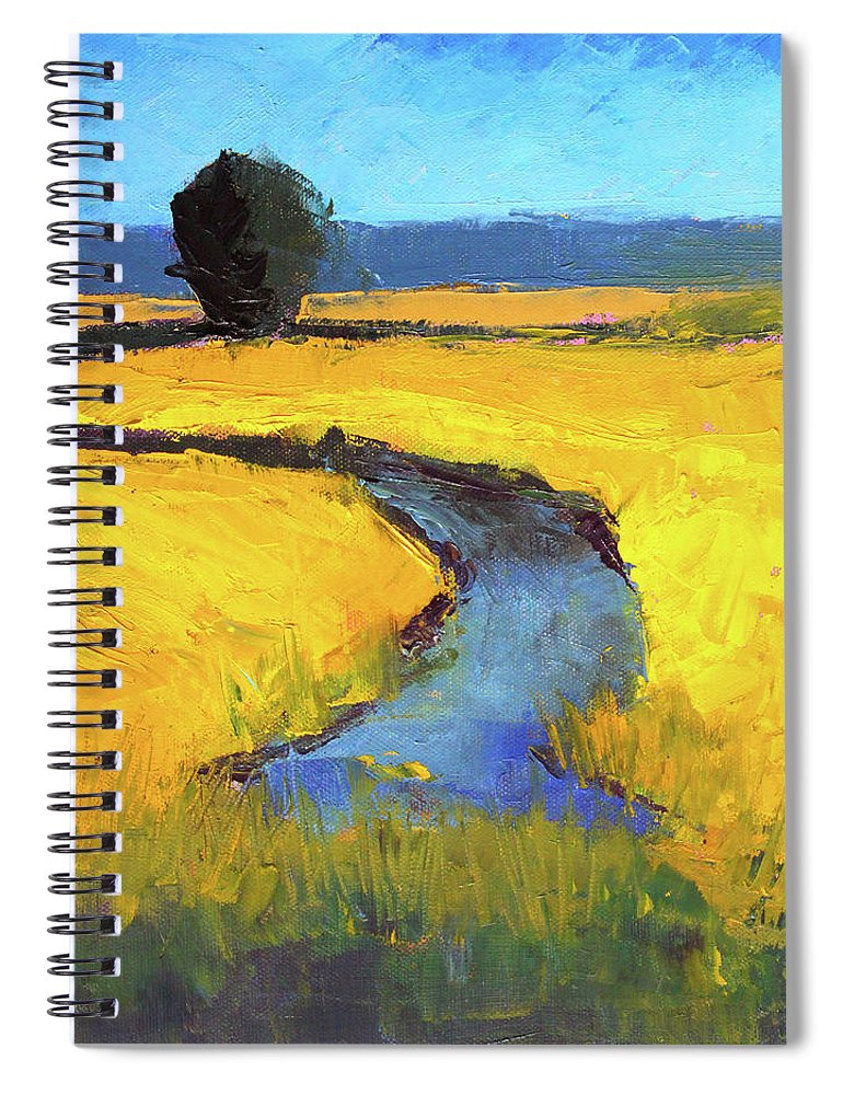 Yellow Landscape Spiral Notebook featuring the painting Mid July by Nancy Merkle