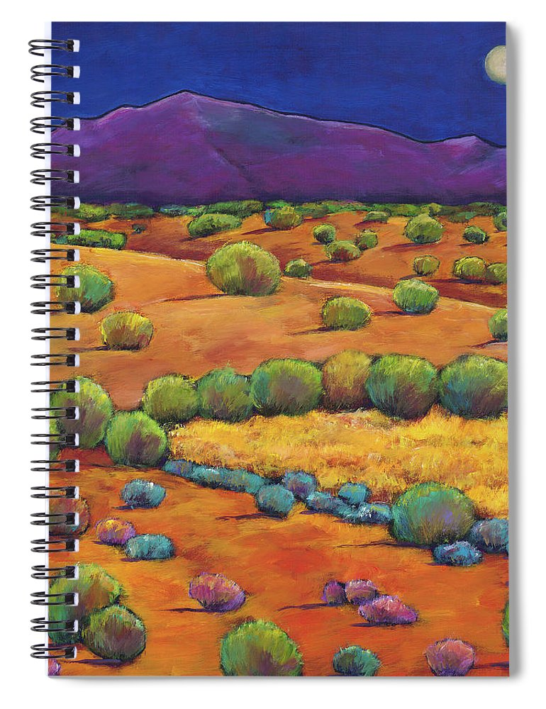Contemporary Southwest Spiral Notebook featuring the painting Midnight Sagebrush by Johnathan Harris