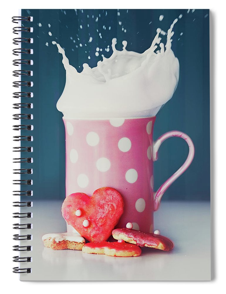 Milk Spiral Notebook featuring the photograph Milk And Heart Shape Cookies by Julia Davila-lampe