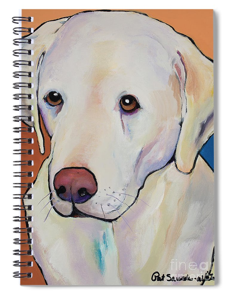 Yellow Lab Spiral Notebook featuring the painting Mille by Pat Saunders-White