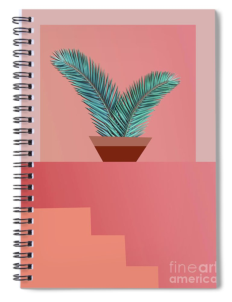 Summer Spiral Notebook featuring the pyrography Minimal Tropic by Mark Ashkenazi