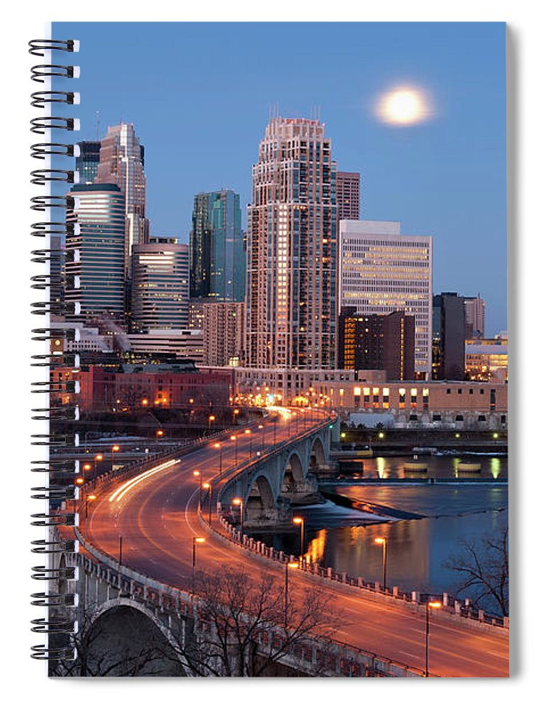 Downtown District Spiral Notebook featuring the photograph Minneapolis, Minnesota Skyline by Jenniferphotographyimaging