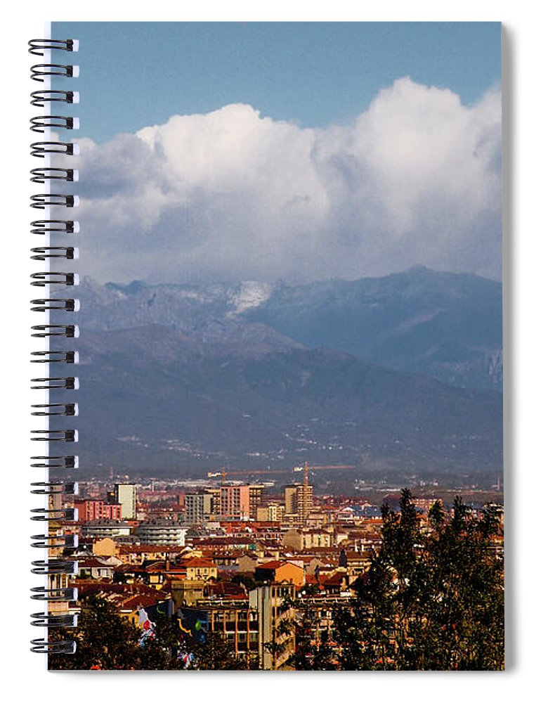 Built Structure Spiral Notebook featuring the photograph Mole Antonelliana, Torino And Alps by Rodolfo Rodríguez Castro