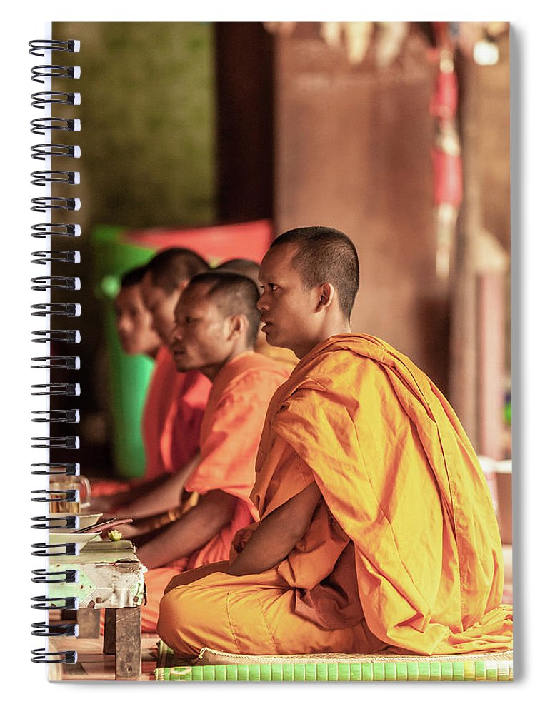 Young Men Spiral Notebook featuring the photograph Monks At Breakfast, Wat Monastery by Cultura Rm Exclusive/gary Latham