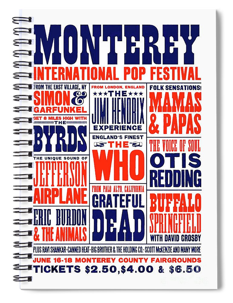 Monterey Pop Festival Spiral Notebook featuring the mixed media Monterey Pop Festival, poster by Thomas Pollart
