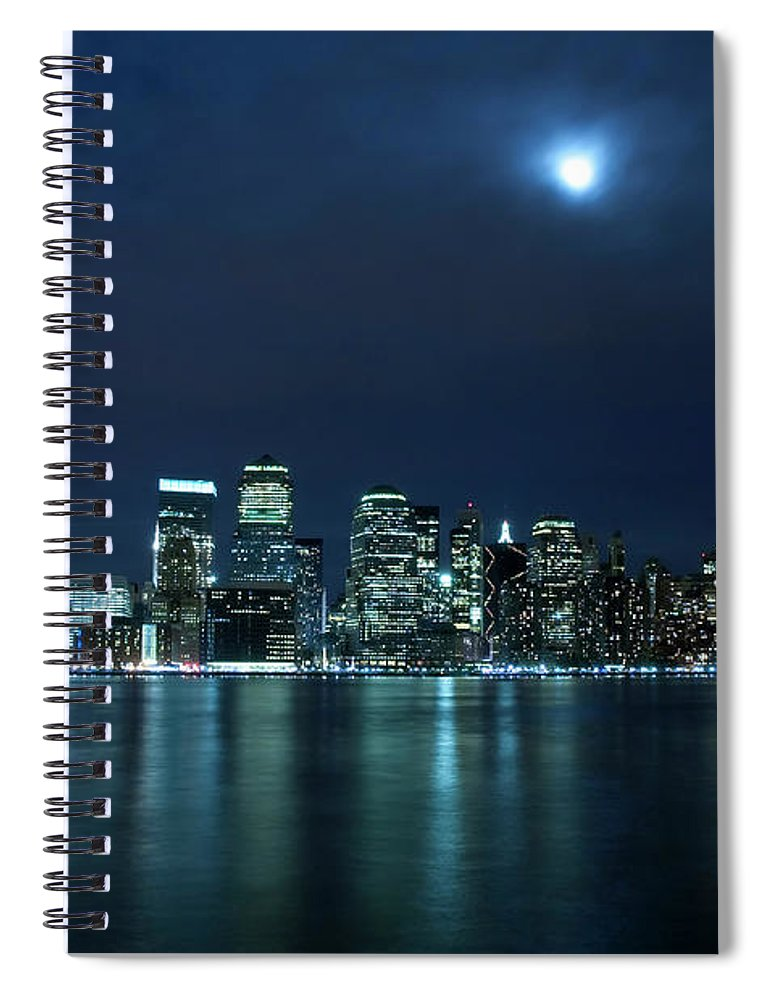 Lower Manhattan Spiral Notebook featuring the photograph Moon Light Over New York City by Brandonj74