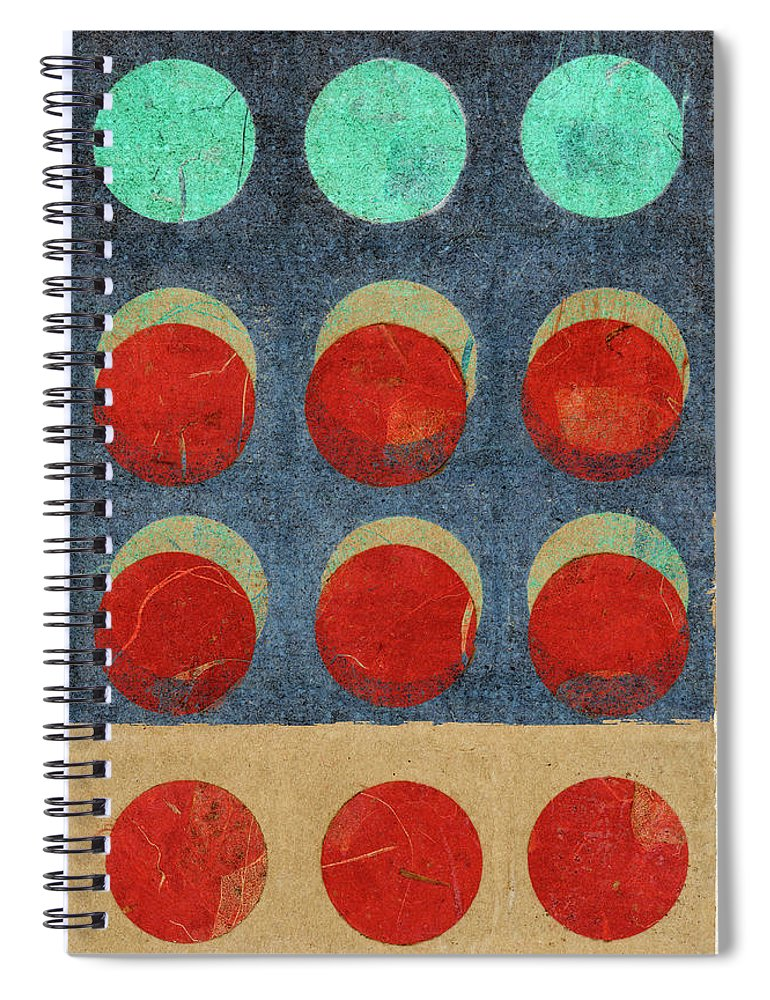 Moon Spiral Notebook featuring the mixed media Moon Phases 2 by Carol Leigh
