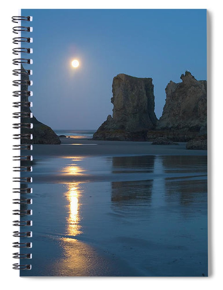 Scenics Spiral Notebook featuring the photograph Moon Setting Over Seastacks At Low by Darrell Gulin