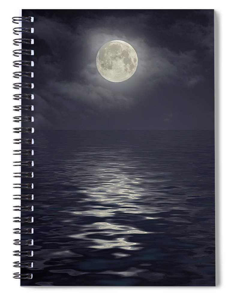 Scenics Spiral Notebook featuring the photograph Moon Under Ocean by Andreyttl