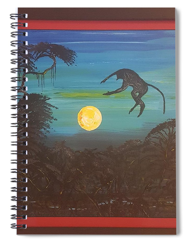 Moonlight Baboon Spiral Notebook featuring the photograph Moonlight Baboon by Quintus Curtius