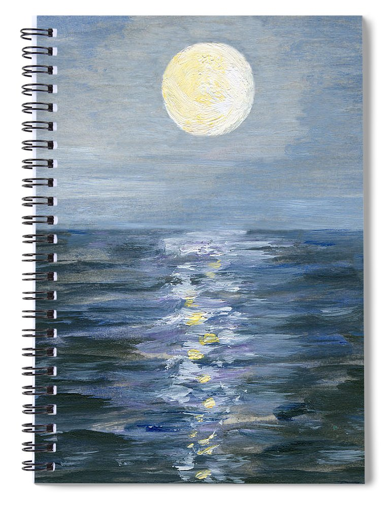 Oil Painting Spiral Notebook featuring the digital art Moonlight Reflection In The Sea by Mitza