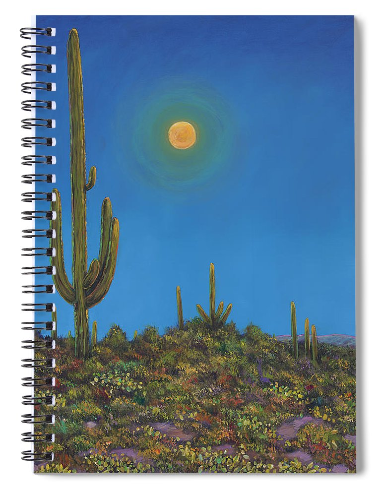 Arizona Spiral Notebook featuring the painting Moonlight Serenade by Johnathan Harris