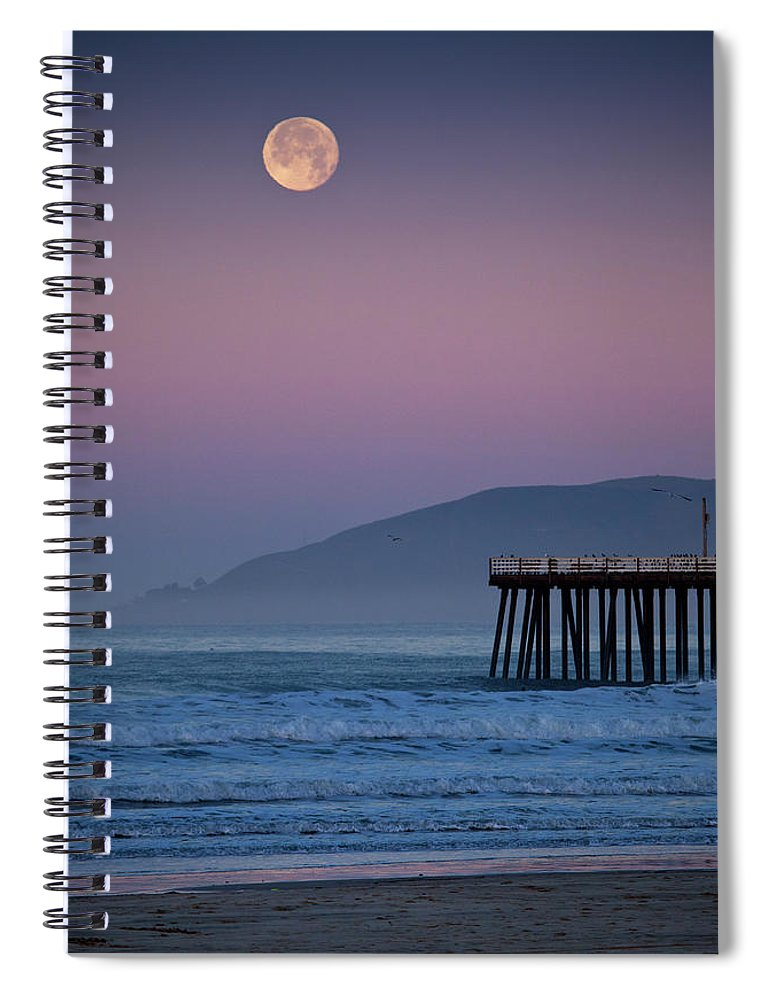 Pismo Beach Spiral Notebook featuring the photograph Moonset At Pismo Beach by Mimi Ditchie Photography