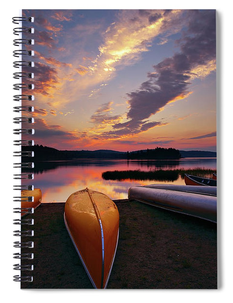 Tranquility Spiral Notebook featuring the photograph Morning At Lake Of The Two Rivers by Henry@scenicfoto.com