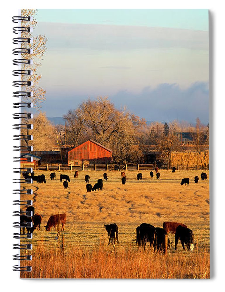 Scenics Spiral Notebook featuring the photograph Morning Farm Scene by Beklaus