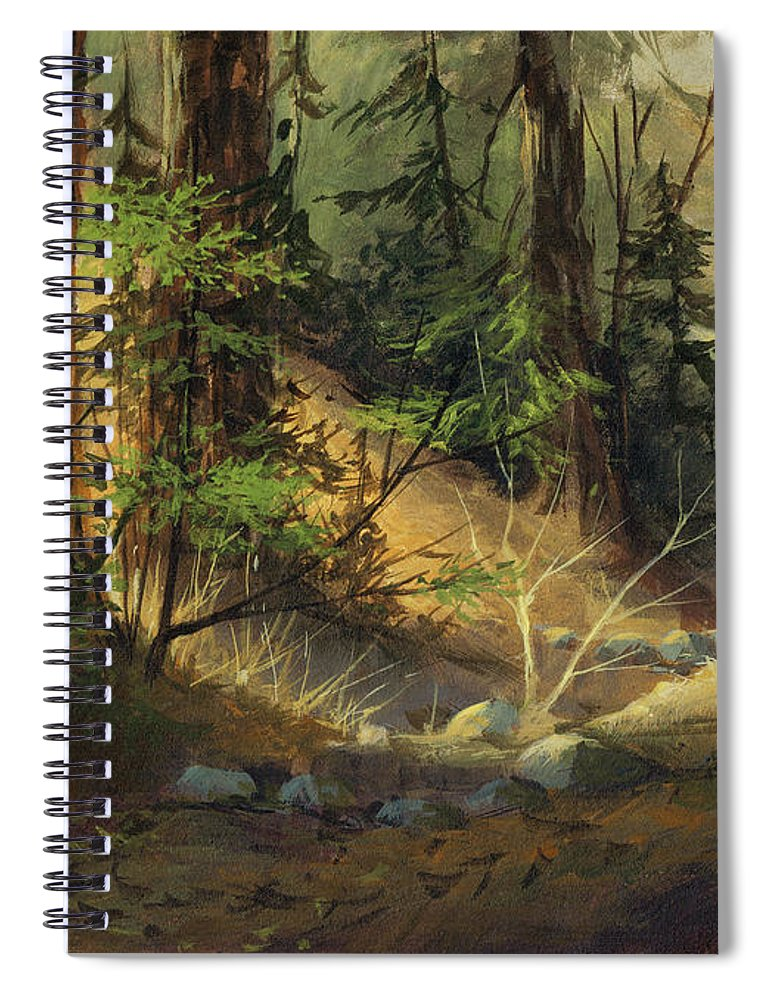 Michael Humphries Spiral Notebook featuring the painting Morning Redwoods by Michael Humphries