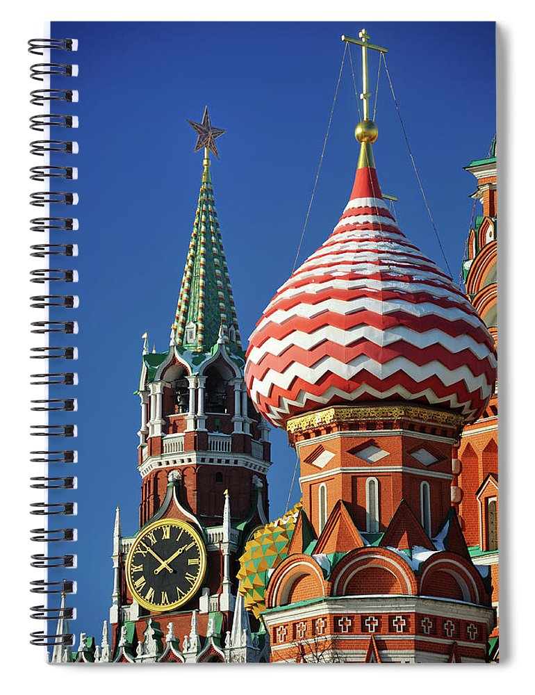 Built Structure Spiral Notebook featuring the photograph Moscow, Spasskaya Tower And St. Basil by Vladimir Zakharov
