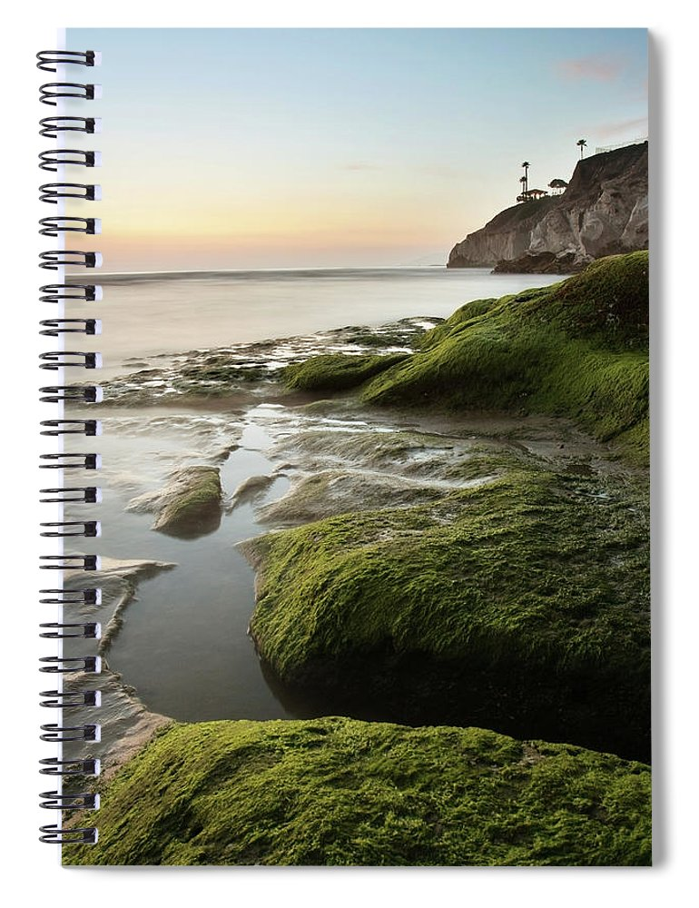 Pismo Beach Spiral Notebook featuring the photograph Mossy Rocks At Pismo Beach by Kevinruss