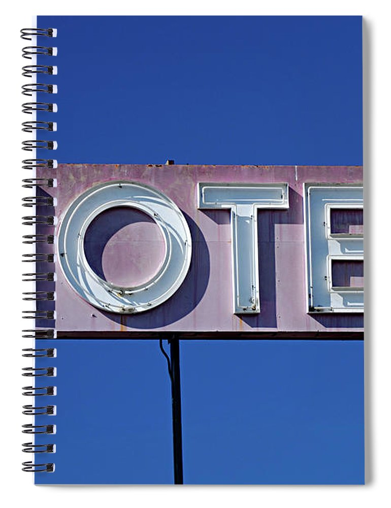 Clear Sky Spiral Notebook featuring the photograph Motel Sign by Eyetwist / Kevin Balluff