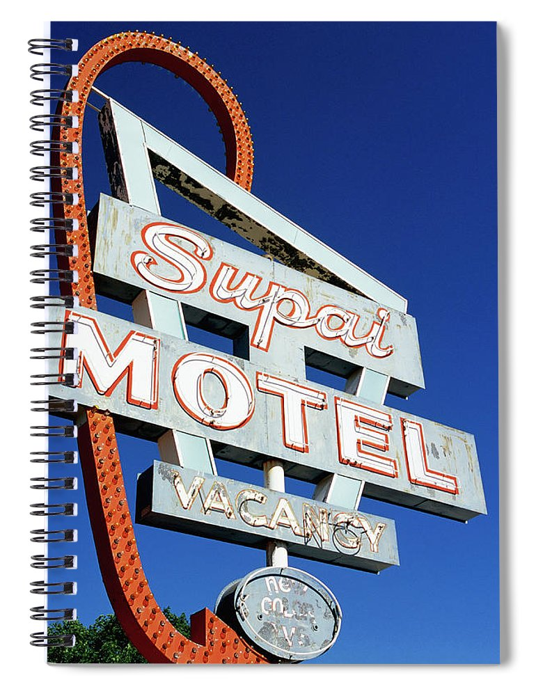 Shadow Spiral Notebook featuring the photograph Motel Sign In Midwest, United States Of by Oliver Strewe
