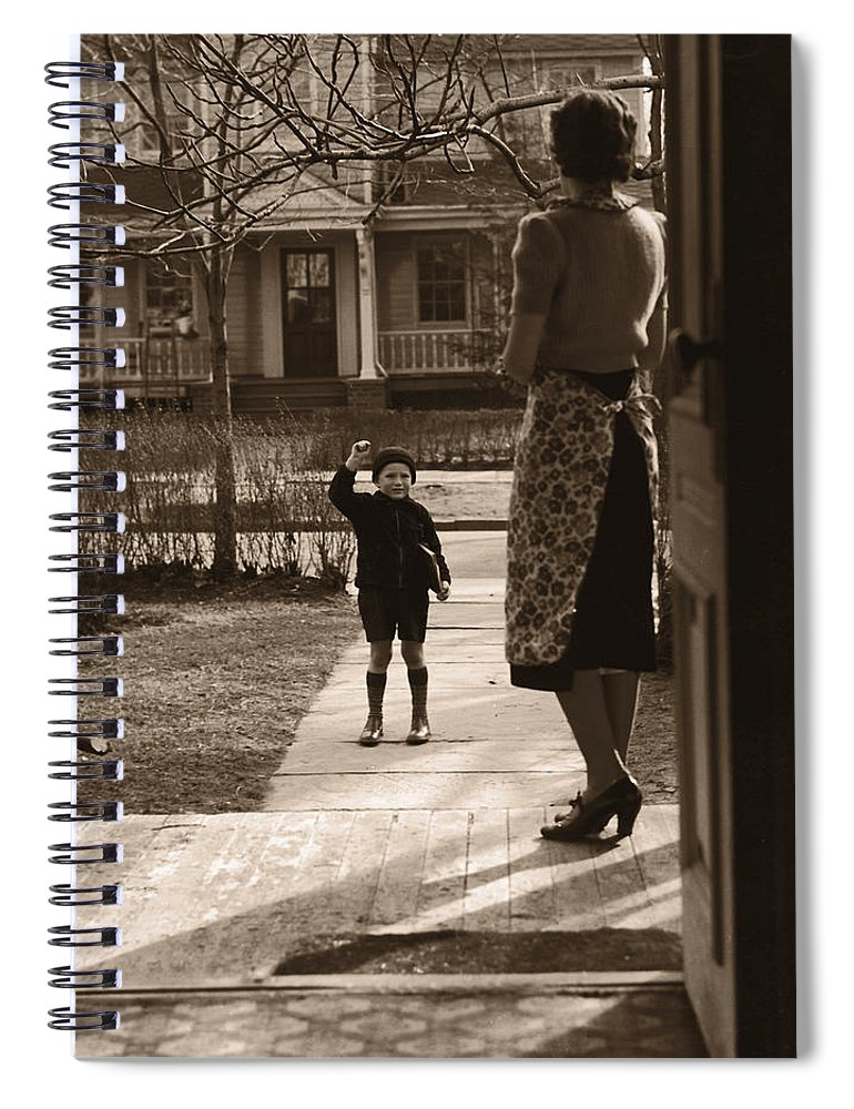 Education Spiral Notebook featuring the photograph Mother On Porch Seeing Son 4-6 Off To by Fpg