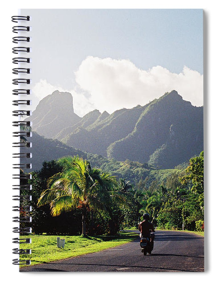 Shadow Spiral Notebook featuring the photograph Motorcyclist On Polynesian Road by Ejs9
