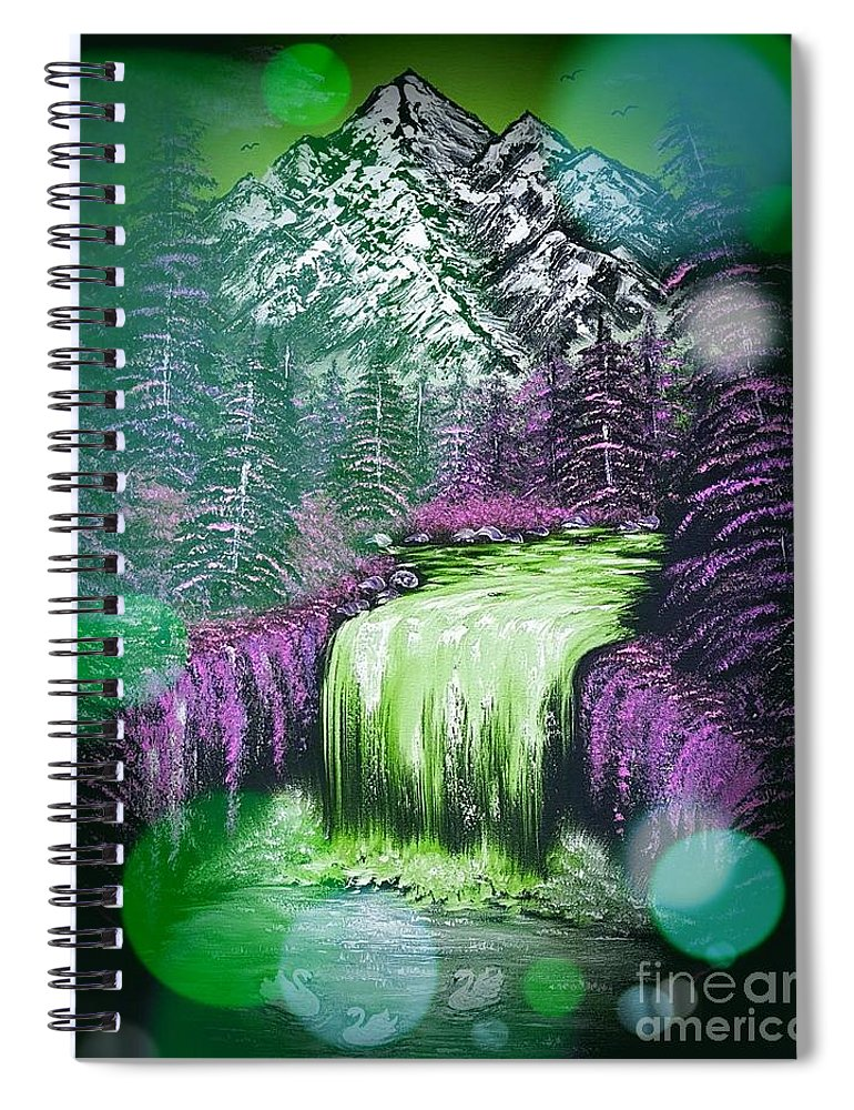 Green Spiral Notebook featuring the painting Mountain Views So Beautiful Green Stardust Dark by Angela Whitehouse