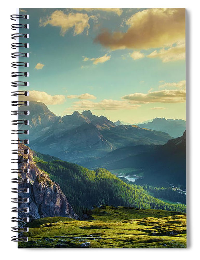 Belluno Spiral Notebook featuring the photograph Mountains And Valley At Sunset by Mammuth