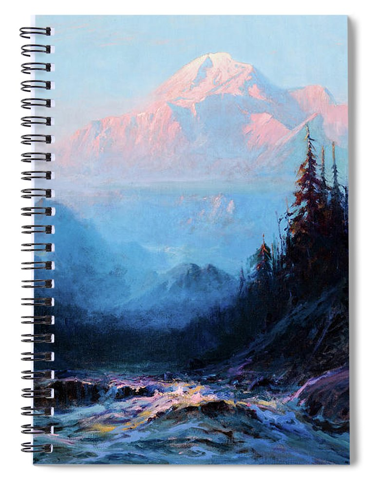 Sydney Laurence Spiral Notebook featuring the painting Mt. Mckinley Above The Tokosheetna, 1925 by Sydney Laurence