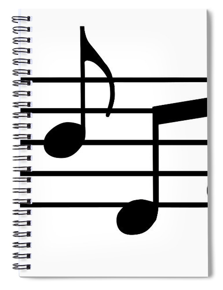 Sheet Music Spiral Notebook featuring the digital art Music Notes In Black And White by Comstock