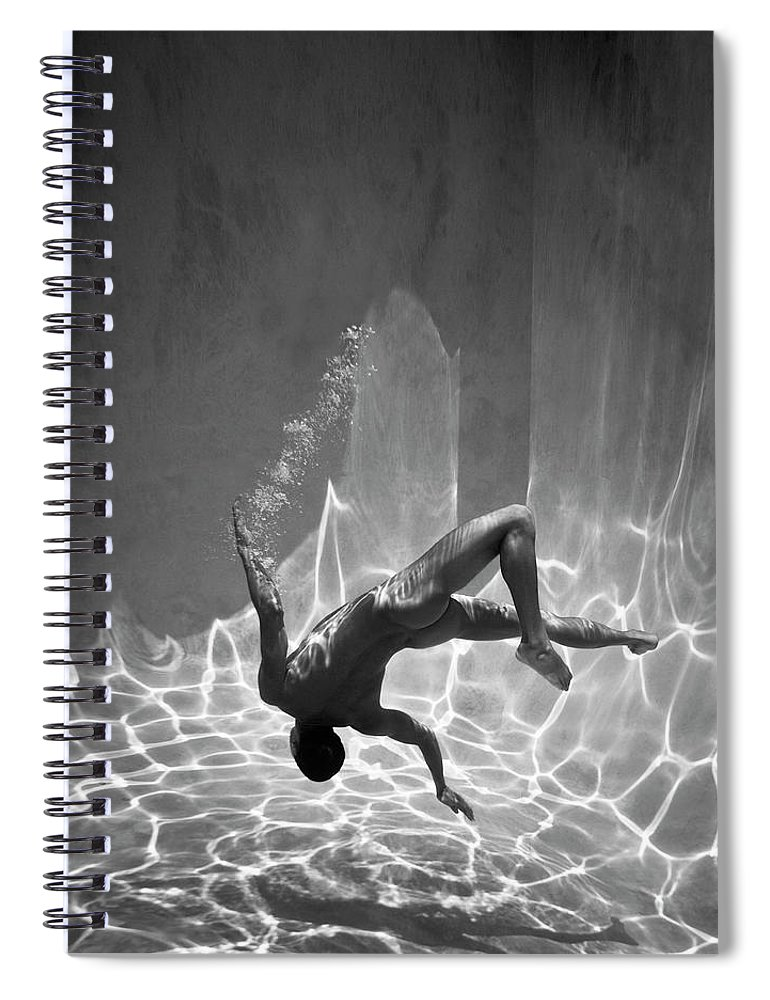 Underwater Spiral Notebook featuring the photograph Naked Man Underwater by Ed Freeman