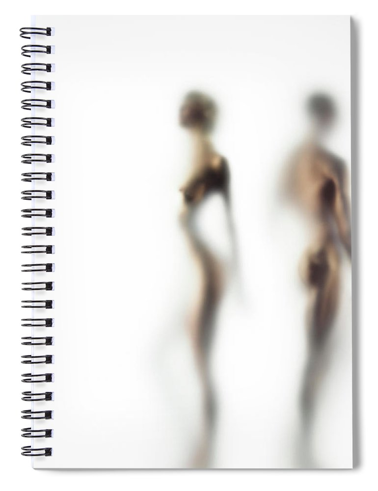 Young Men Spiral Notebook featuring the photograph Naked Young Woman And Man Defocussed by Symphonie