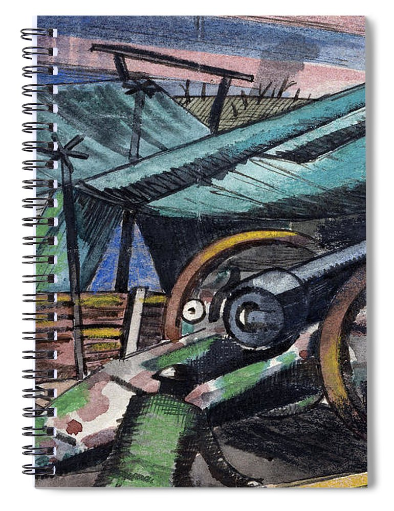 B1019 Spiral Notebook featuring the painting A Howitzer Firing, 1918 by Paul Nash