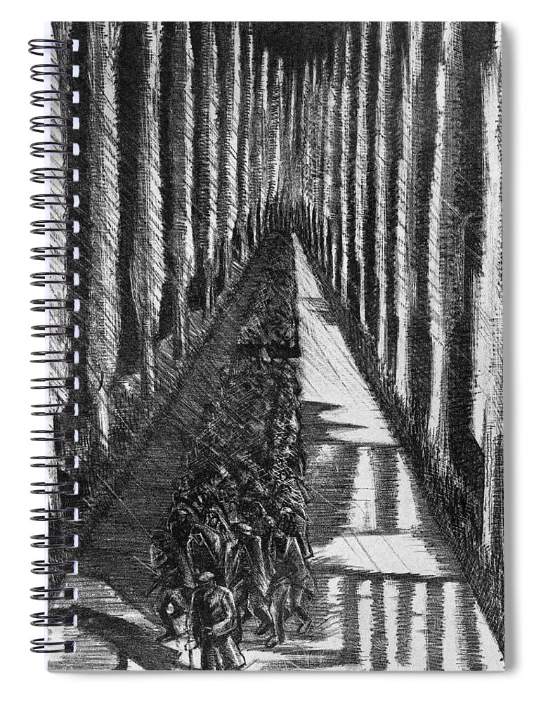 B1019 Spiral Notebook featuring the drawing Men Marching At Night, 1918 by Paul Nash
