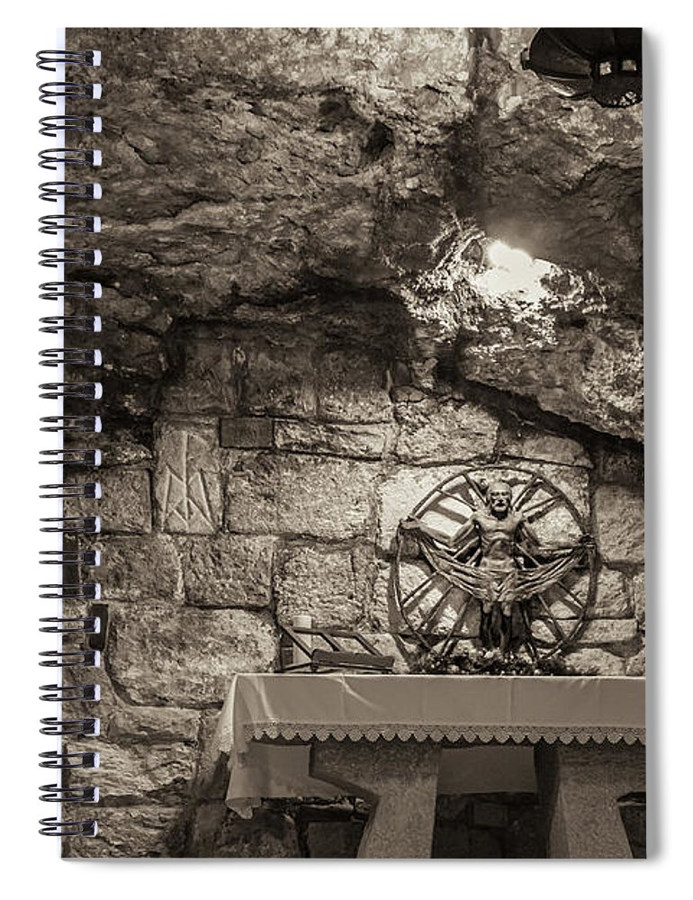 Ancient Spiral Notebook featuring the photograph Nativity Cave by Sean O'Cairde