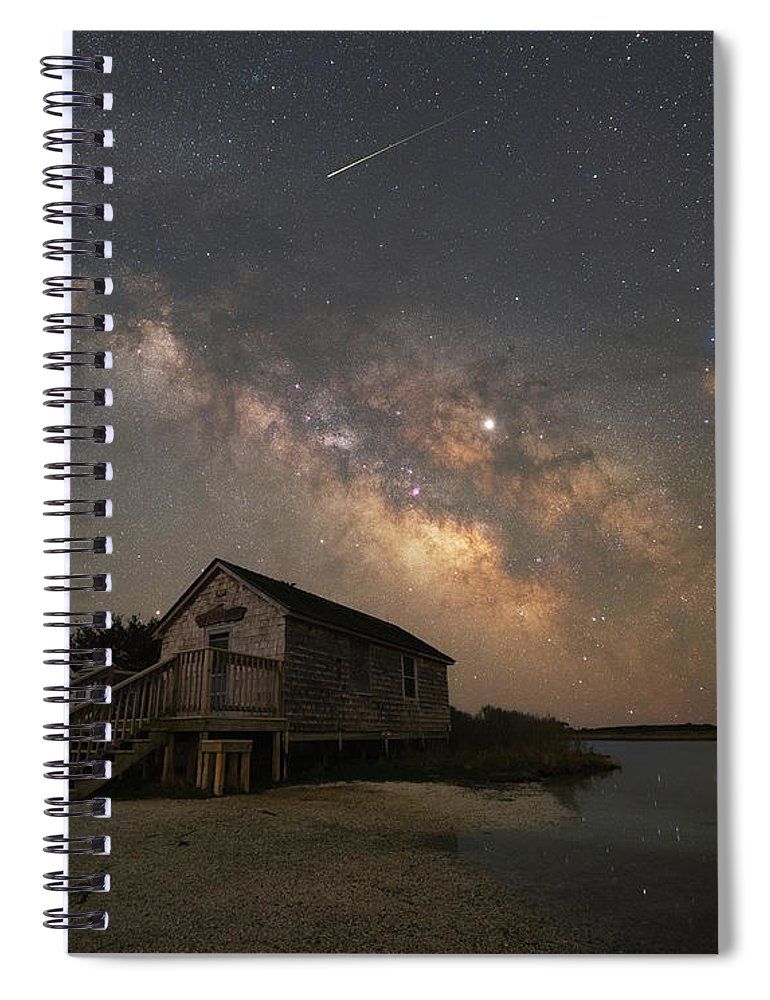 Marsh Spiral Notebook featuring the photograph Naturalist Shack Under The Milky Way by Michael Ver Sprill