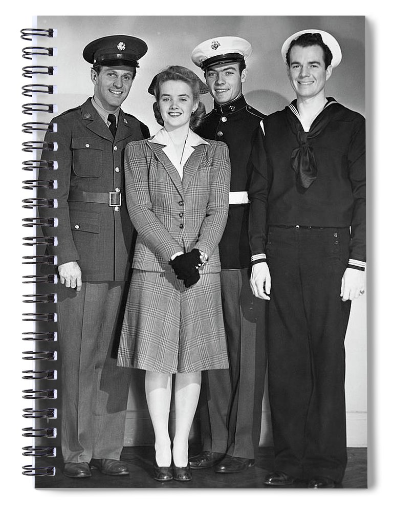 People Spiral Notebook featuring the photograph Navy, Marine, Army Officers by George Marks