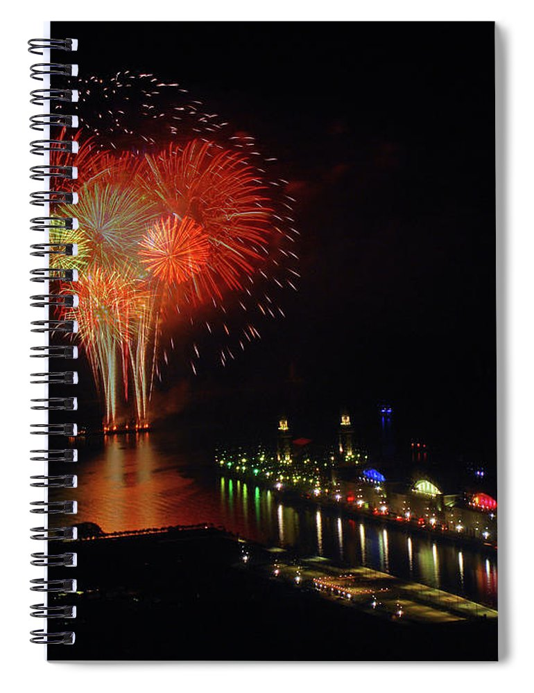 Firework Display Spiral Notebook featuring the photograph Navy Pier Fireworks by Image By Douglas R. Siefken