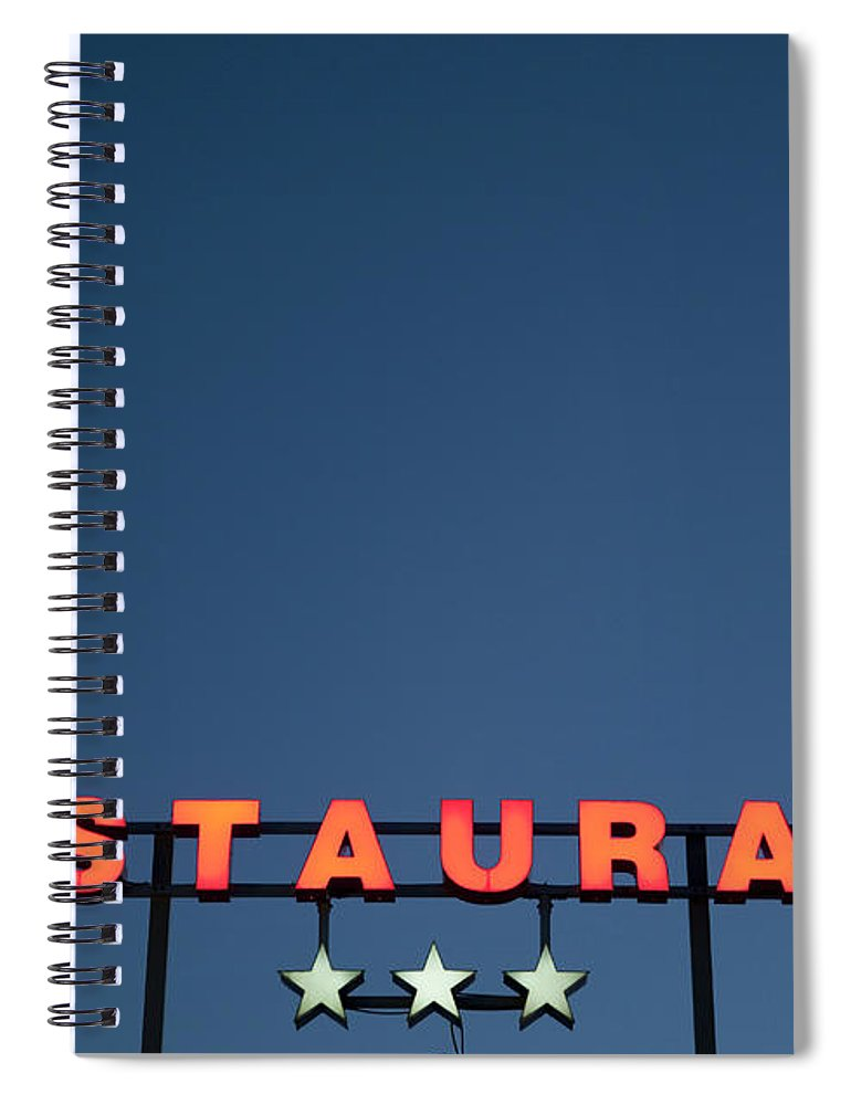 Temptation Spiral Notebook featuring the photograph Neon 3 Star Restaurant Sign by Henglein And Steets