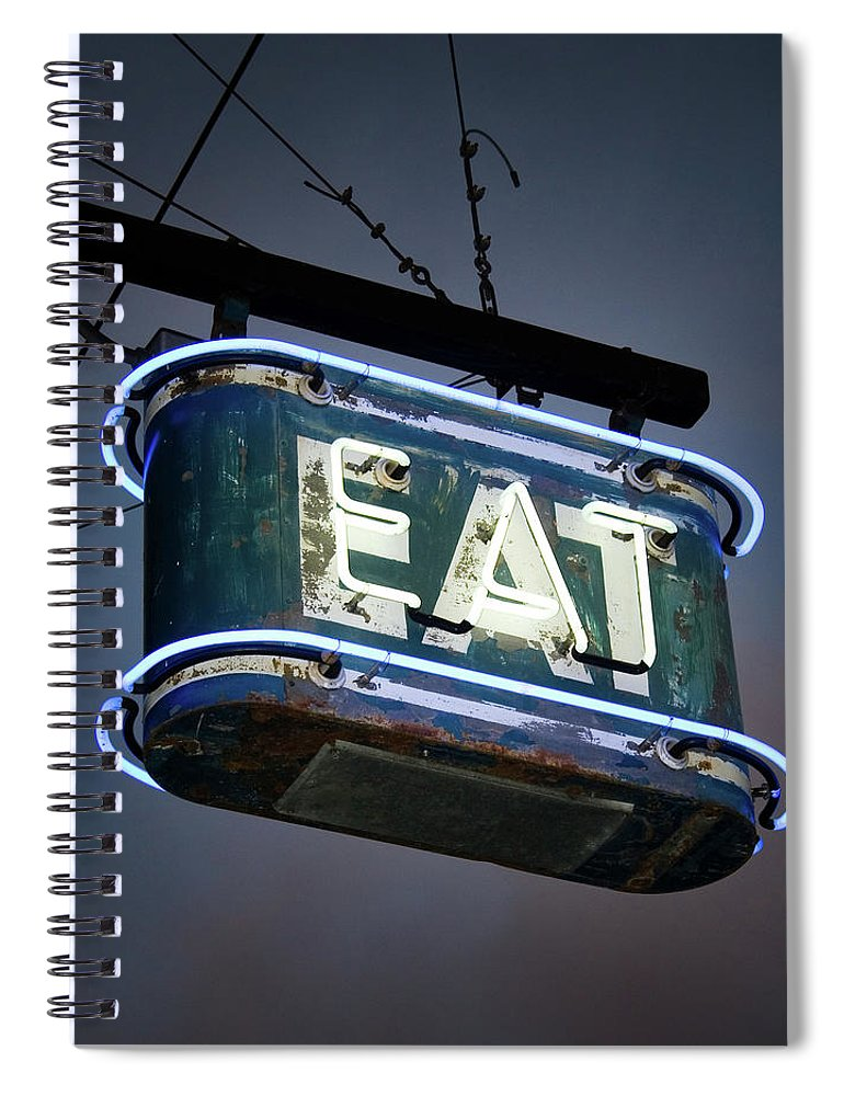 Hanging Spiral Notebook featuring the photograph Neon Eat Sign by Kjohansen
