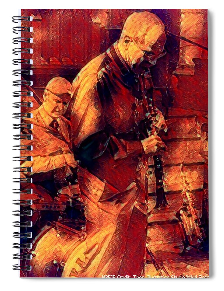 New Black Eagle Jazz Band Spiral Notebook featuring the mixed media New Black Eagle Jazz Band - Bill And Billy by Marshall Thomas