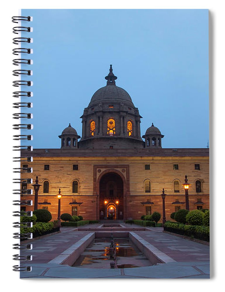 New Delhi Spiral Notebook featuring the photograph New Delhi President House At Night by Prognone