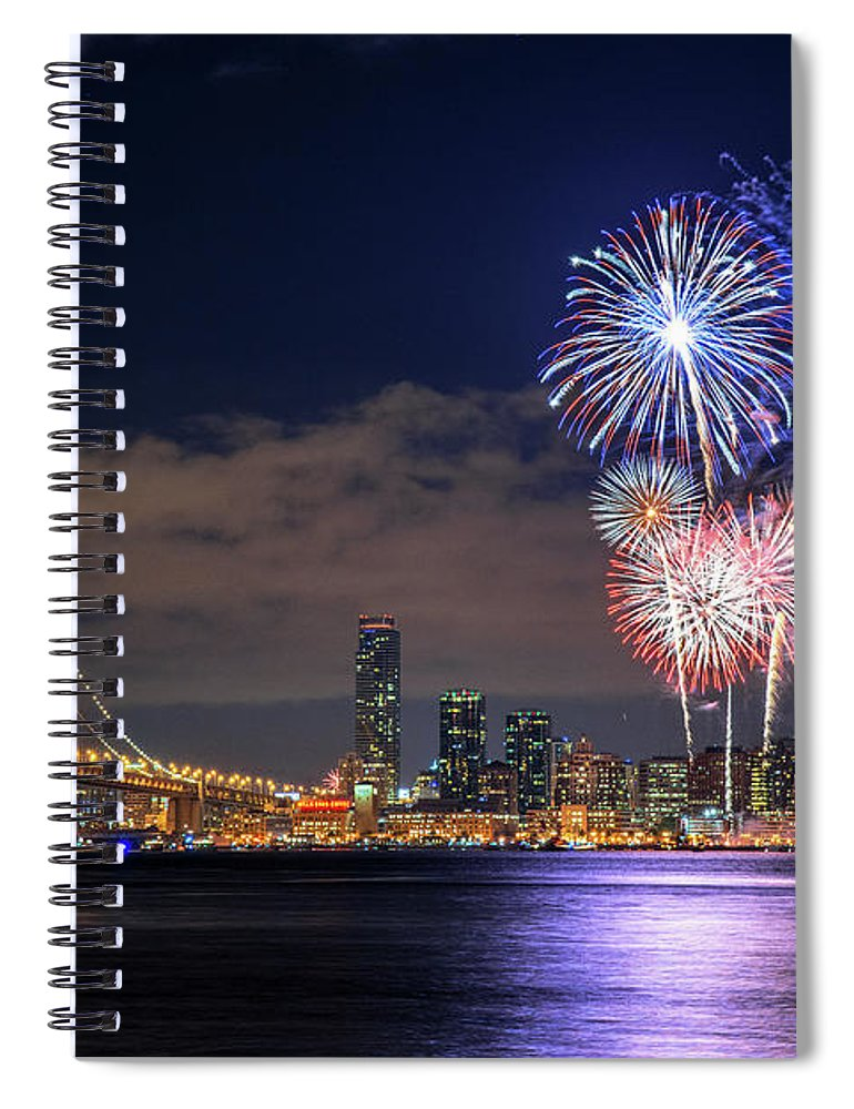 Firework Display Spiral Notebook featuring the photograph New Year Fireworks by Piriya Photography