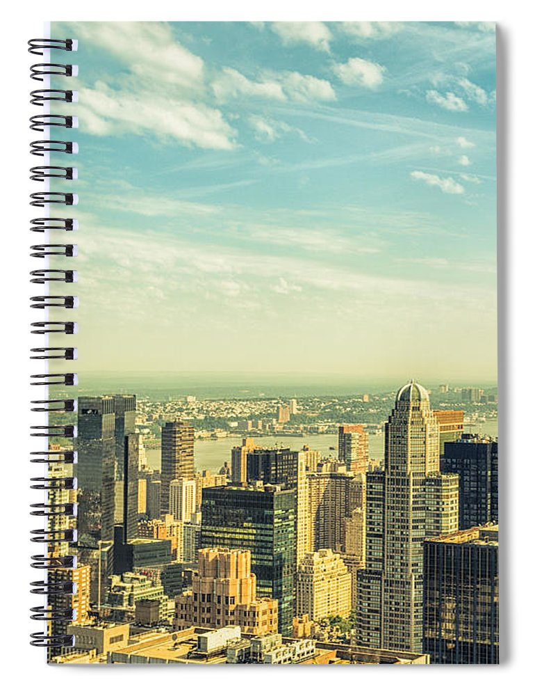 Lower Manhattan Spiral Notebook featuring the photograph New York City Skyline With Central Park by Franckreporter